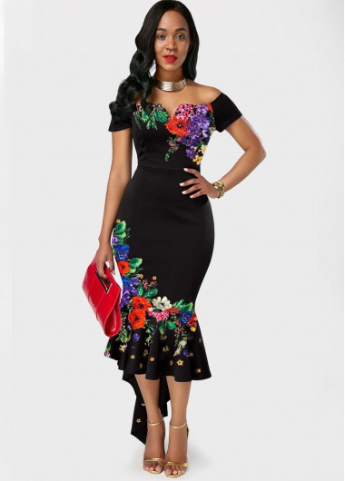 Wedding Guest Dress Floral Print Off the Shoulder Black Mermaid Dress - XL