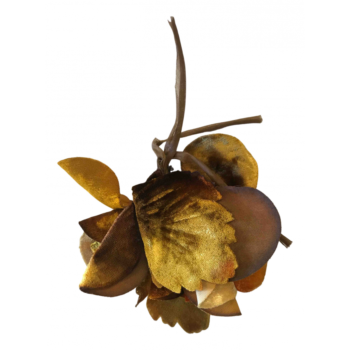 Miu Miu - Broche   pour femme en toile - jaune