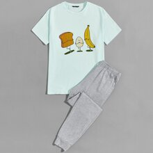 Men Food Print Tee and Heather Gray Pants PJ Set