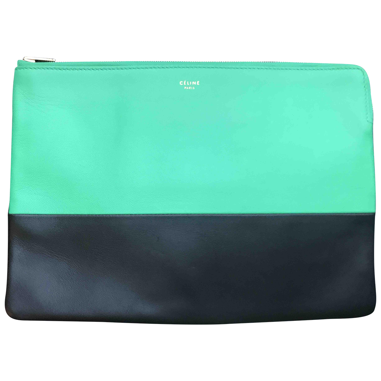 Celine All Soft Clutch in  Gruen Leder