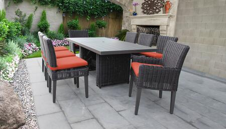 Venice Collection VENICE-DTREC-KIT-6ADC2DCC-TANGERINE Patio Dining Set With 1 Table  6 Side Chairs  2 Arm Chairs - Wheat and Tangerine