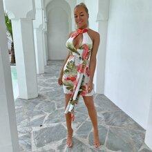 Keyhole Neck Draped Tropical Dress