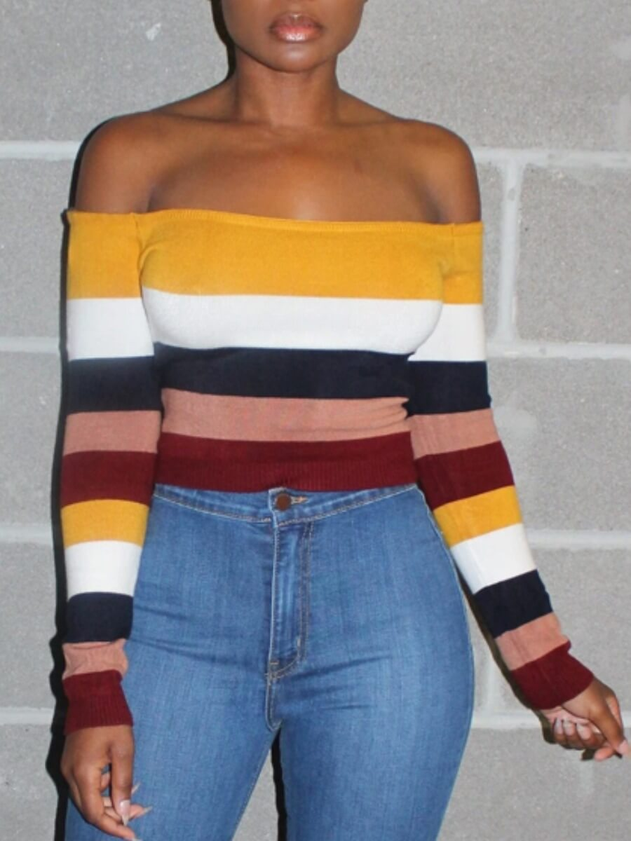 LW Lovely Casual Off The Shoulder Striped Patchwork Multicolor T-shirt
