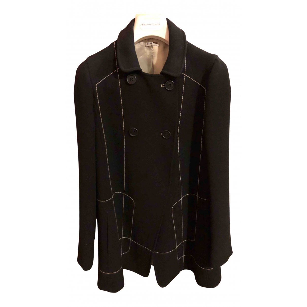 Miu Miu N Black Wool coat for Women 42 IT