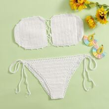 Solid Crochet Tie Side Bikini Swimsuit