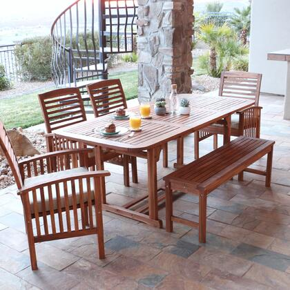 OW6SBR 6-Piece Brown Acacia Patio Dining Set with