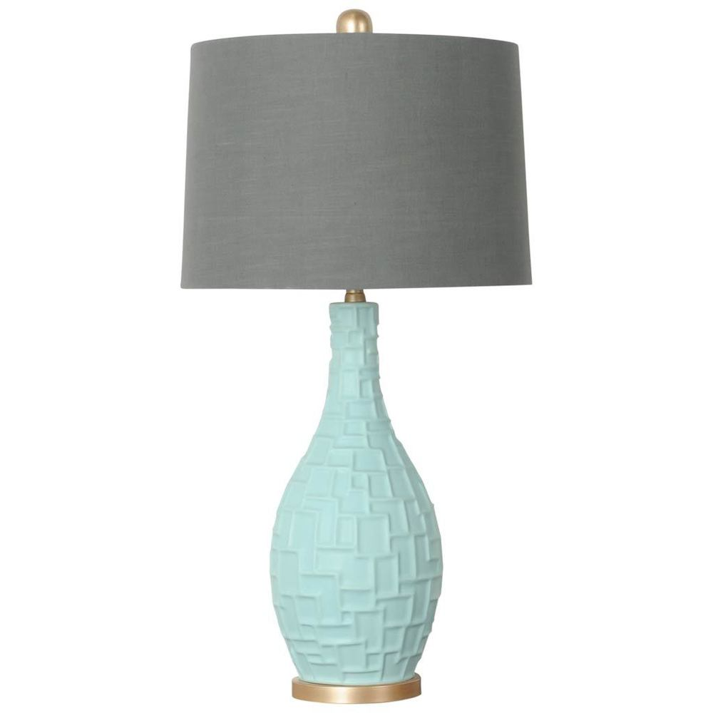 Mercana Bexley I Teal Ceramic Table Lamp with Grey Shade (Table Lamps)