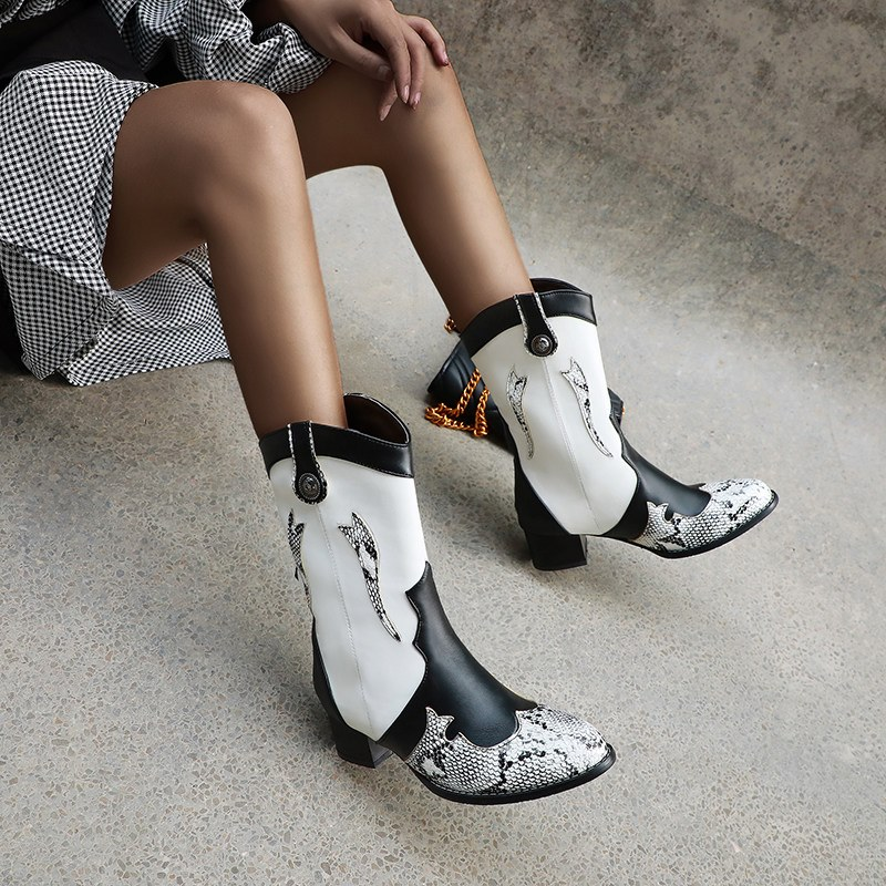 Ericdress Round Toe Slip-On Color Block Women's Ankle Boots