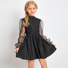 Girls Mesh Sleeve Glitter A Line Dress