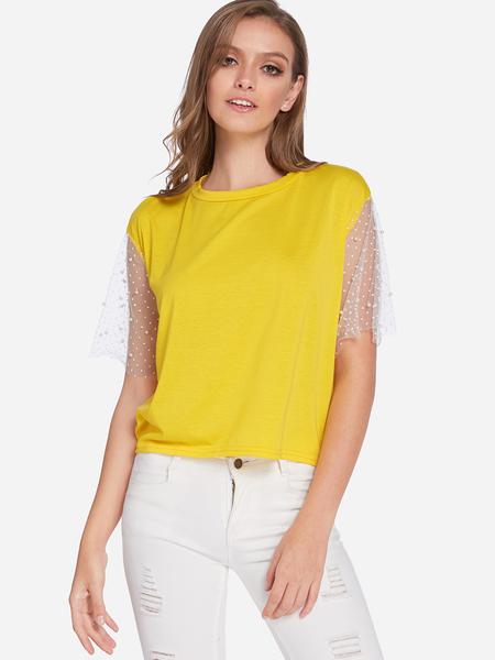 Yoins Yellow Mesh Sleeves Round Neck T-shirts
