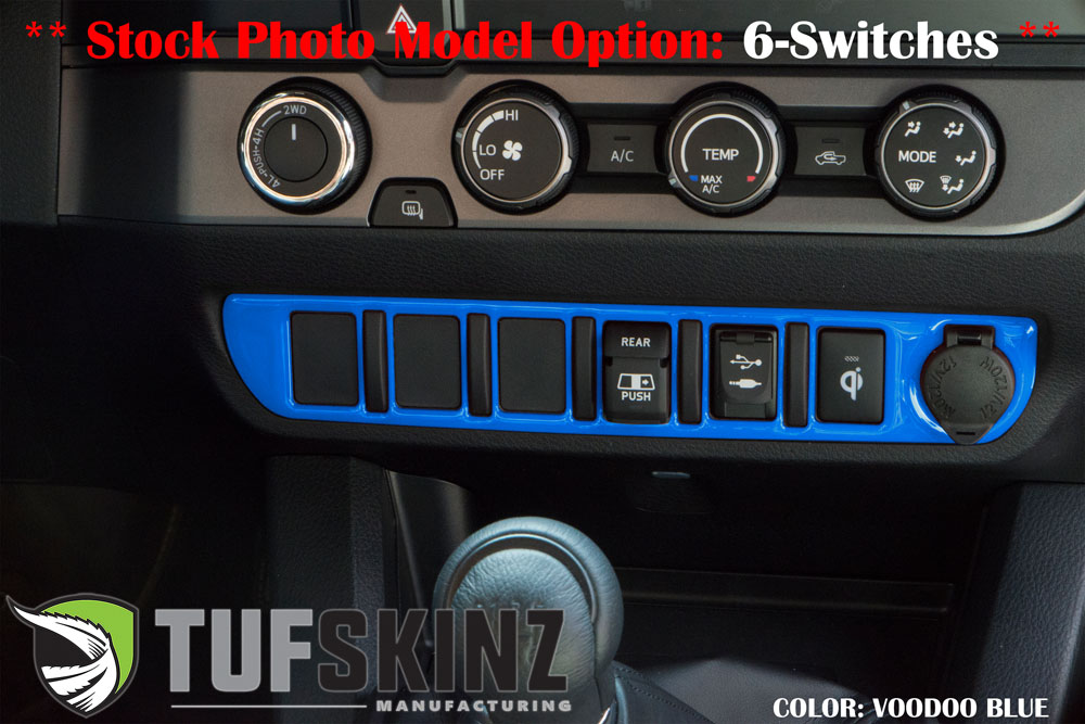 Tufskinz TAC023-VODB-G Center Dash Switch Panel with 5-Switches Fits 16-up Toyota Tacoma 1 Piece Kit Voodoo Blue