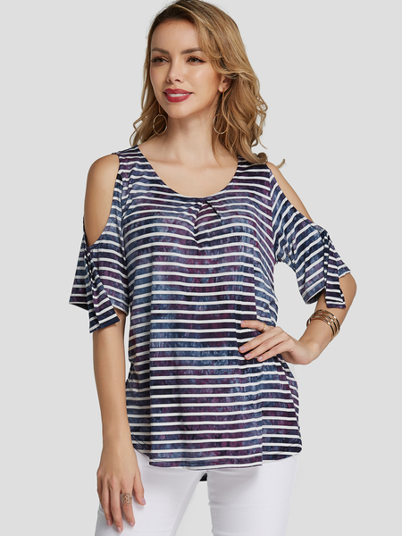 YOINS Multi Pleated Printed Cold Shoulder Fashion Tee