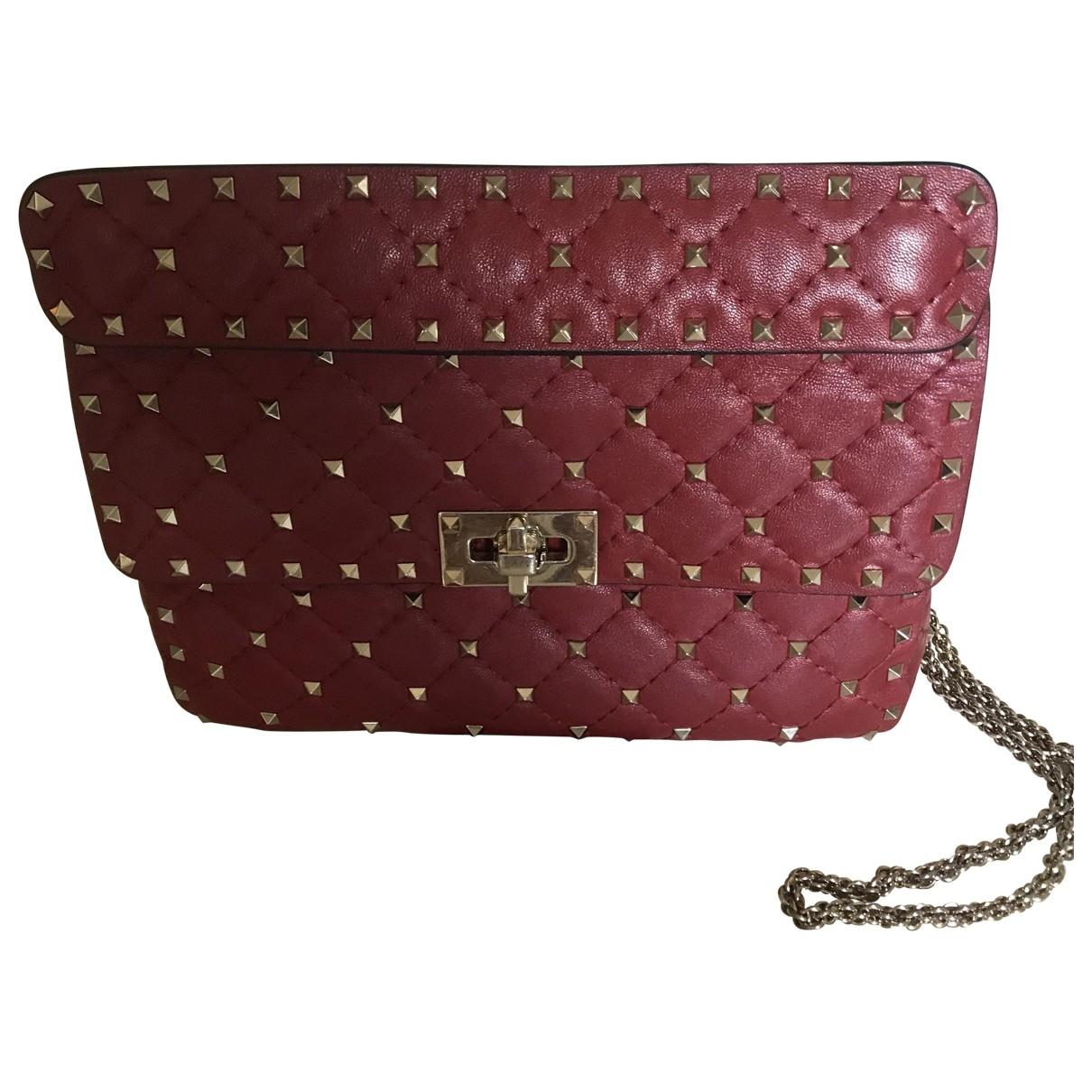 Valentino Garavani Rockstud spike Red Leather handbag for Women \N