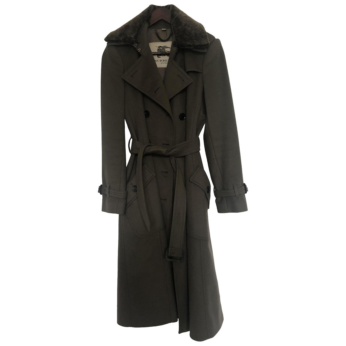 Burberry \N Khaki Wool Trench coat for Women 8 UK