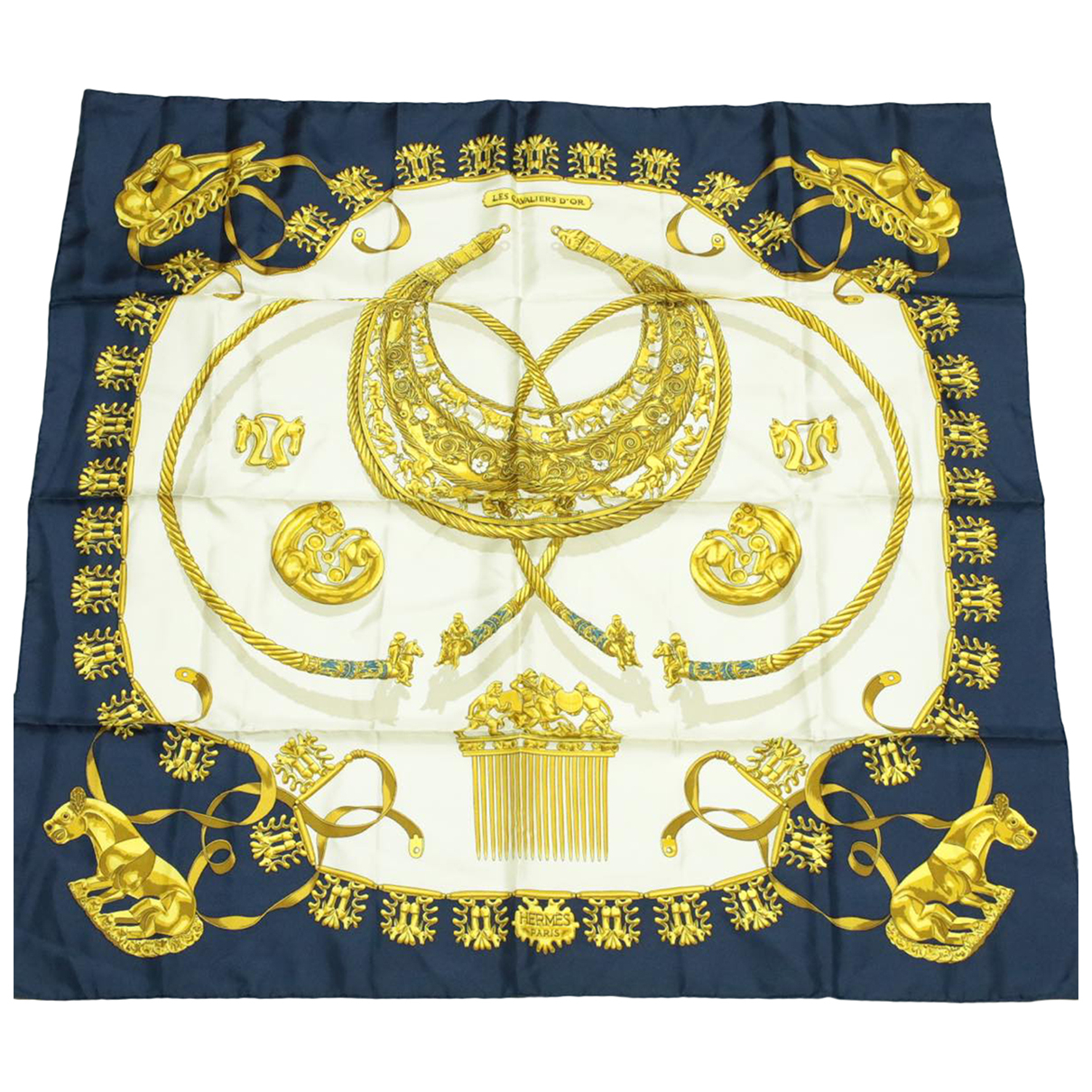 Hermès \N Navy Silk scarf for Women \N