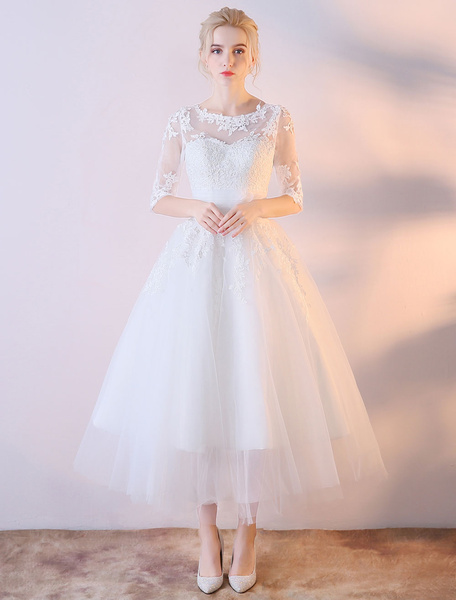 Milanoo Short Wedding Dresses White Half Sleeve Lace Applique Tea Length Bridal Dress