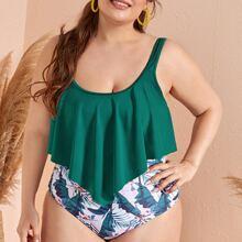 Plus Tropical Hanky Hem Ruched Bikini Swimsuit