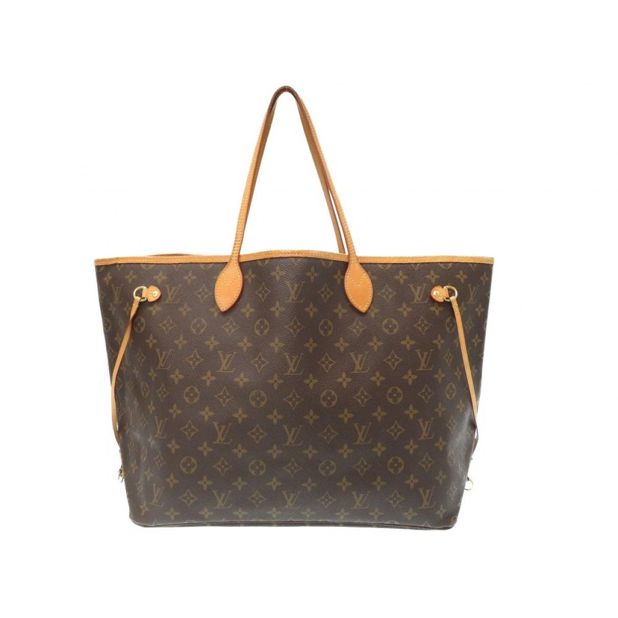 Louis Vuitton Neverfull Handtasche in  Braun Leinen
