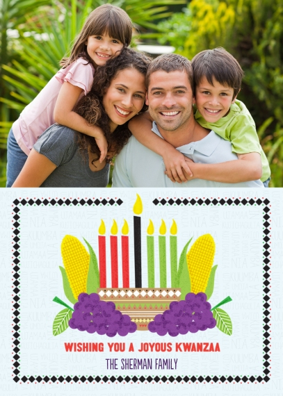 Kwanzaa Photo Cards 5x7 Folded Cards, Standard Cardstock 85lb, Card & Stationery -Joyous Candles Kwanzaa