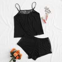 Contrast Lace Cami PJ Set