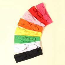 8 Stuecke einfarbiges Kopfband mit Schleife Dekor