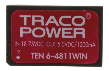 TRACOPOWER TEN 6WIN 6W Isolated DC-DC Converter Through Hole, Voltage in 18 → 75 V dc, Voltage out 5V dc