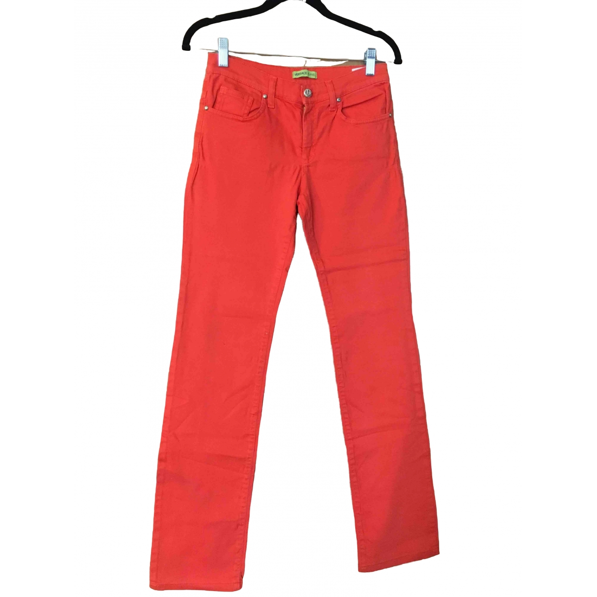 Versace Jeans \N Orange Cotton Jeans for Women 36 FR