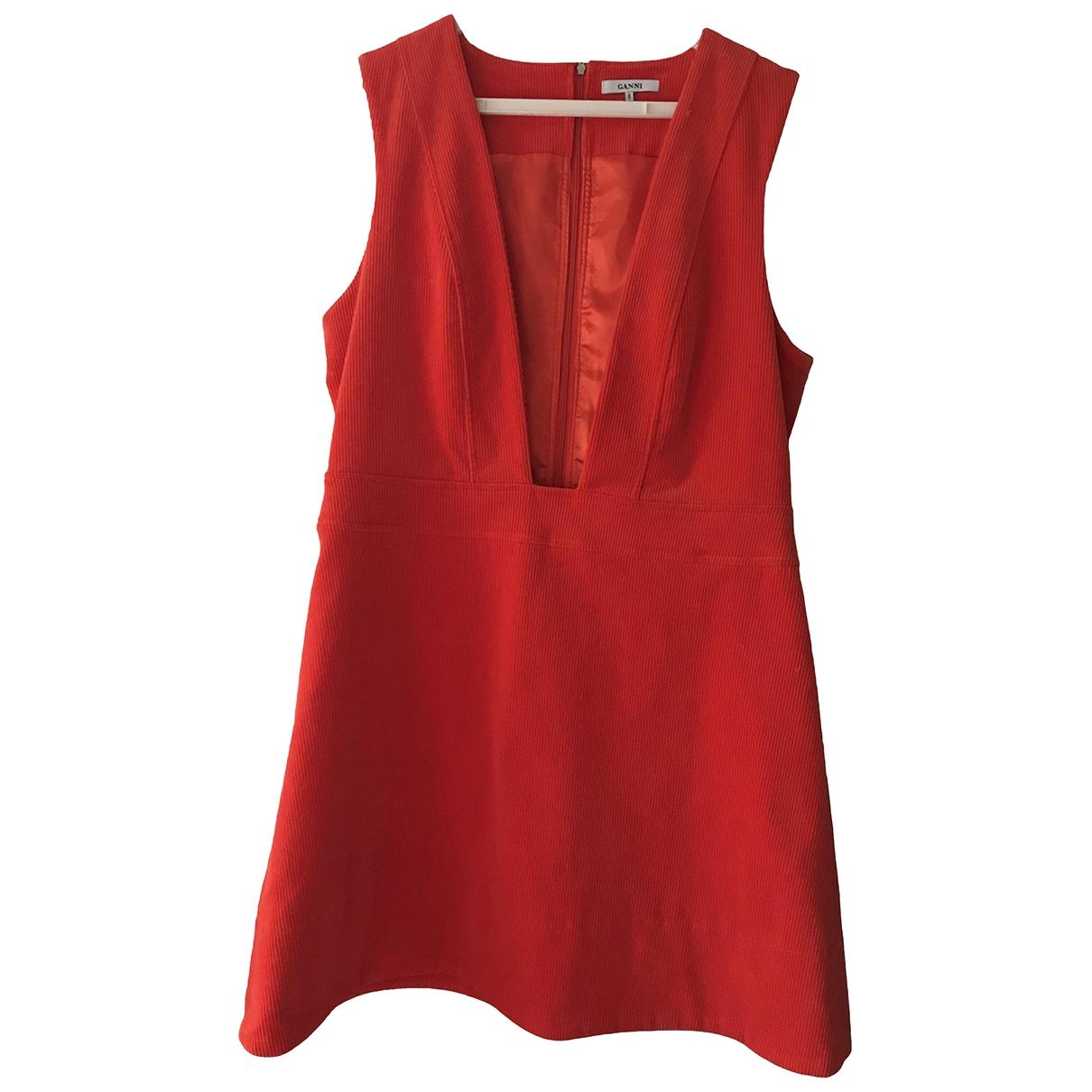 Ganni \N Kleid in  Orange Baumwolle - Elasthan