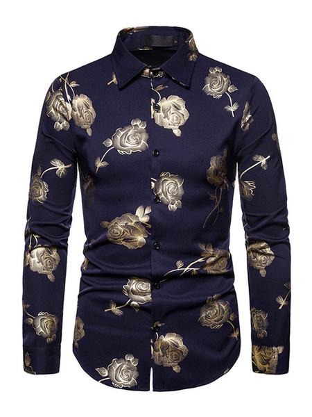 Milanoo Men Casual Shirt Turndown Collar Long Sleeves Floral Print Shirt