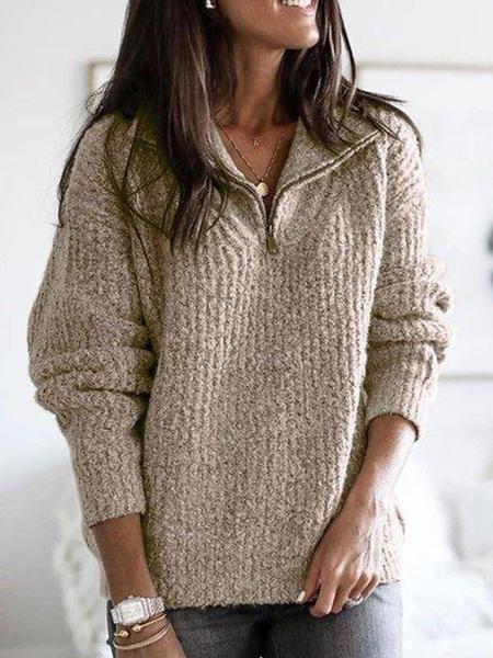 Milanoo Women\'s Pullovers Deep Gray V-Neck Long Sleeves Acrylic Sweaters