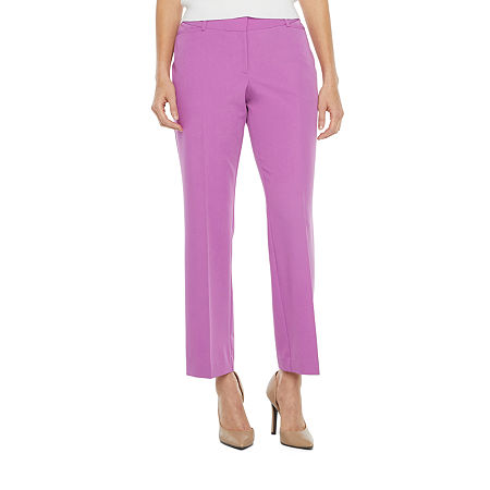 Worthington Womens Straight Leg Perfect Trouser, 8 Short , Purple