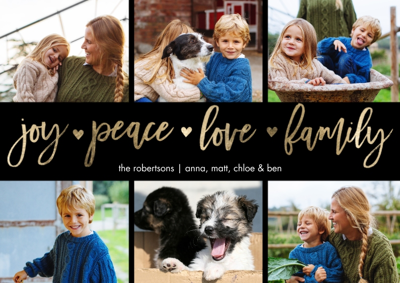 Christmas Photo Cards 5x7 Cards, Standard Cardstock 85lb, Card & Stationery -Holiday Joy Peace Memories by Tumbalina