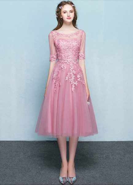 Milanoo Pink Homecoming Dress Tulle Prom Dress Lace Applique Illusion Neckline Half Sleeve A Line Tea Length Graduation Dress