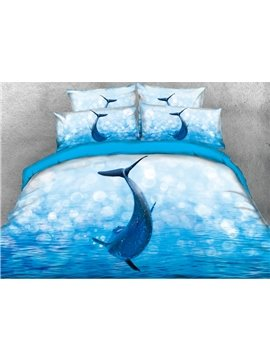 Jumping Dolphin Printed Cotton 4-Piece Blue 3D Bedding Sets/Duvet Covers