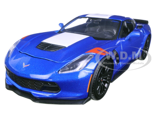2017 Chevrolet Corvette Grand Sport Blue Metallic 1/24 Diecast Model Car by Maisto