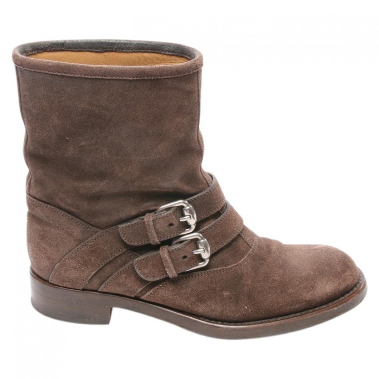 Gucci - Boots   pour femme en suede - marron