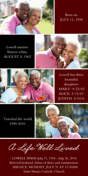 Sympathy Flat Glossy Photo Paper Cards with Envelopes, 4x8, Card & Stationery -A Life Well Lived