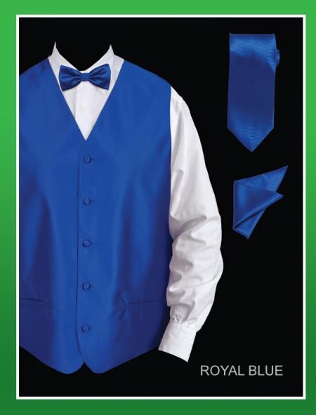 Mens 4 Piece Vest Set  Twill Textured Royal Blue