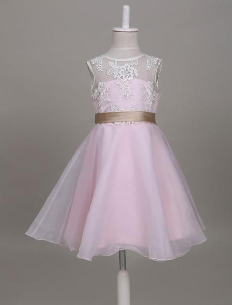 Milanoo Flower Girl Dresses Organza Lace Ribbon Sash Soft Pink Kids Short Party Dresses