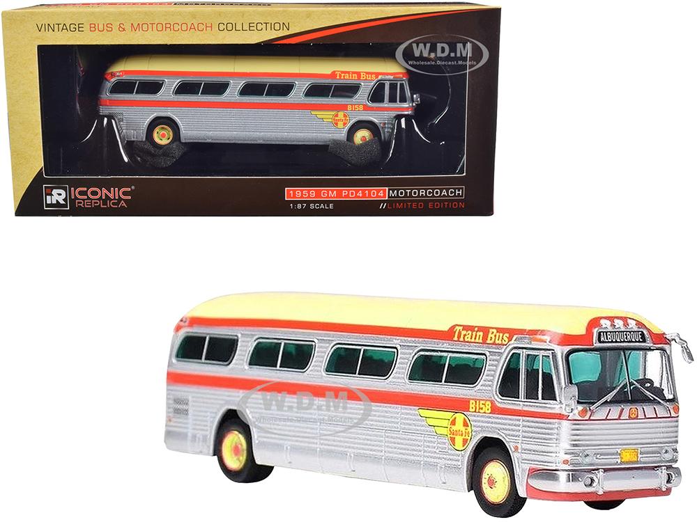 1959 GM PD4104 Motorcoach Santa Fe Train Bus Destination Albuquerque (Albuquerque New Mexico) Silver and Orange with Yellow Top Vintage Bus &