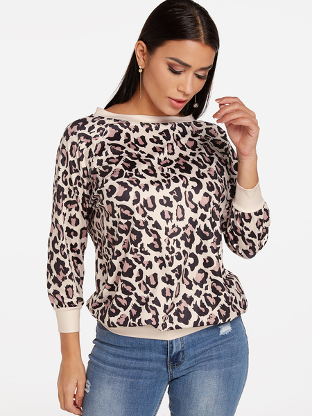 Yoins Leopard Round Neck Long Sleeves T-shirt