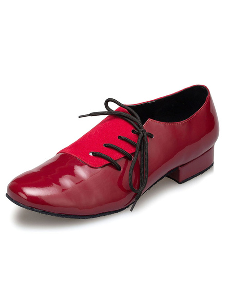 Milanoo Burgundy Latin Dance Shoes Lace Up Patent PU Ballroom Shoes for Men