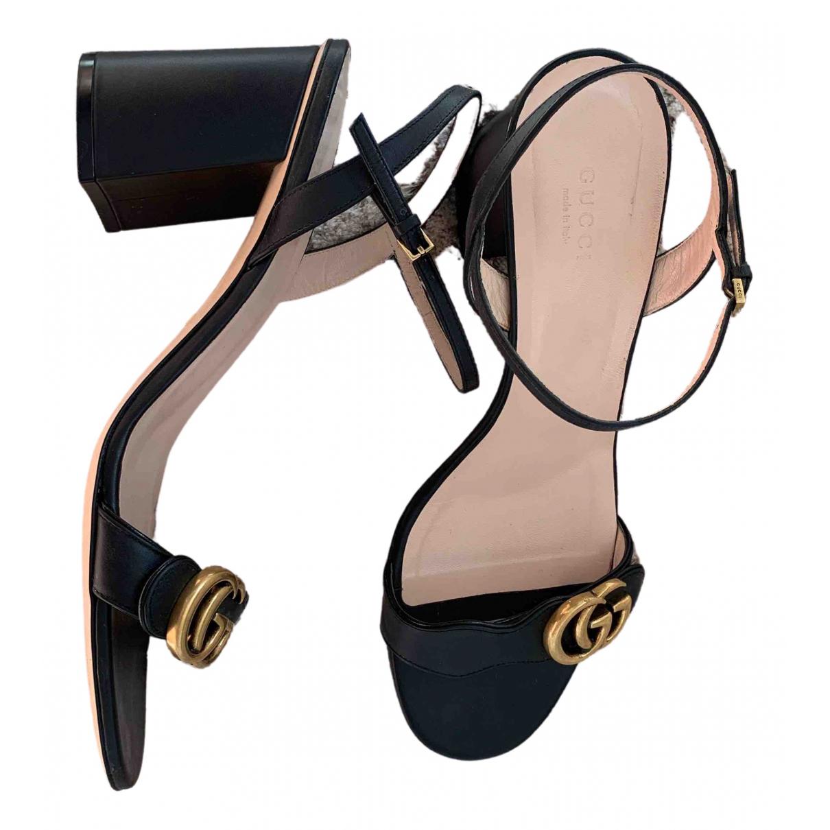 Sandalias romanas Marmont de Cuero Gucci