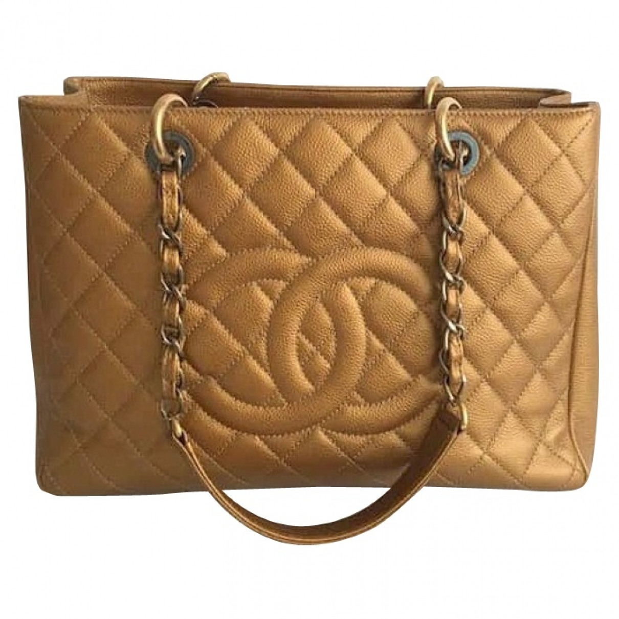Chanel Grand shopping Gold Leather handbag for Women \N