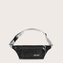Letter Graphic Zip Front Fanny Pack