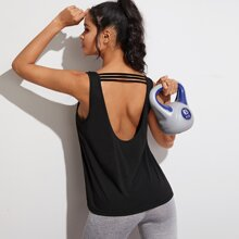 Open Back Solid Tank Top