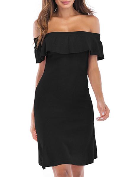 Milanoo Vestido de verano Vestido de playa de mezcla de algodon con cuello bateau negro