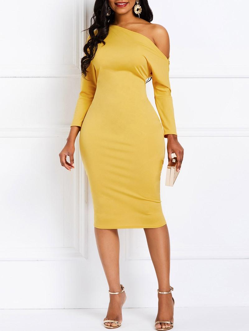 Ericdress Oblique Collar Knee-Length Dress