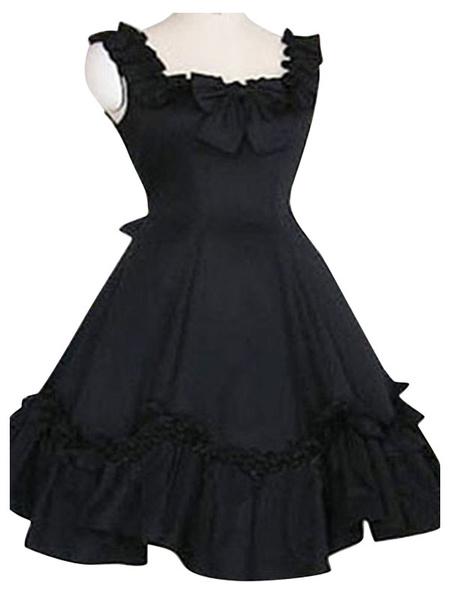 Milanoo Sweet Lolita JSK Dress Ruffles Black Lolita Jumper Skirts
