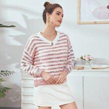 Striped Pattern Drop Shoulder Sweater